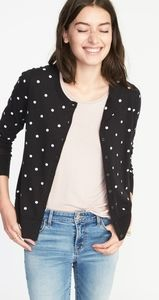 Old Navy black cardigan w/embroidered white dots